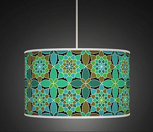 30 cm Turquoise rétro géométrique fait à la main. Style giclée Tissu imprimé lampe Abat-jour tambour au sol ou Suspension abat-jour 517 Lot de 2