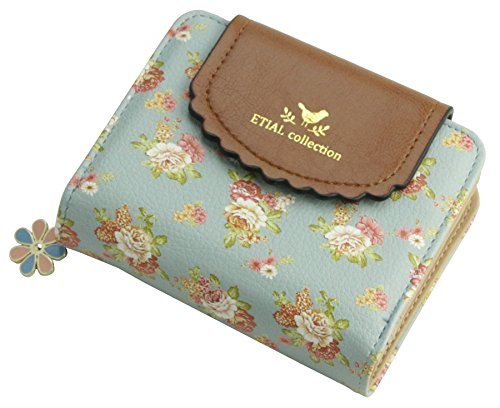ETIAL Women's Vintage Floral Zip Mini Wallet Short Design Coin Purse Light Blue