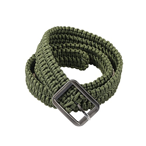 Campsnail EDC Survival Paracord Belts With Metal Belt Buckle (Army Green)