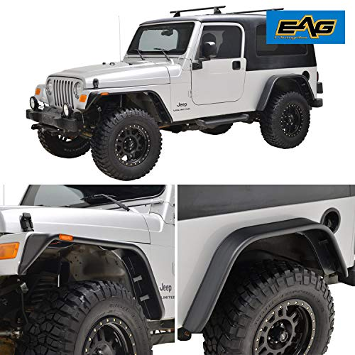 EAG Front + Rear Fender Flares with Side LED Lights Flat Style Fit for 97-06 Jeep Wrangler TJ