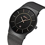 Watches,Mens watches,Women Watches,Fashion Casual,Waterproof Analog Quartz Dress Wrist Watch With Mesh Milanese Bracelet (Black)
