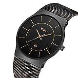 Watches,Mens watches,Women Watches,Fashion Casual,Waterproof Analog Quartz Dress Wrist Watch With Mesh Milanese Bracelet (Black)