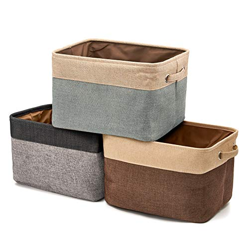 EZOWare Collapsible Storage Bin Basket [3-Pack] Foldable Canvas Fabric Tweed Storage Cube Bin Set with Handles for Home Office Closet (Assorted Color)