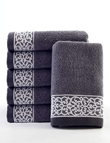ve Best European Hand Towel (1-Piece), 100% Organic Cotton 387gsm, Fade Resistant, Soft and Absorbently, Ecological for Men and Women(34x 76cm, 100g, Gray) ()
