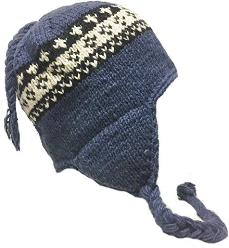 Nepal Hand Knit Sherpa Hat with Ear Flaps, Trapper Ski Heavy Wool Fleeced Lined Cap (Extra Large Head Blue & ()