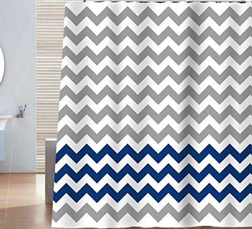 Sunlit Zigzag Navy Blue and Grey White Chevron Fabric Shower Curtain, Geometric Zig Zag Print Pattern Lines and Contemporary Stripes Modern Design Ocean Nautical Theme Fabric Bathroom Décor (Chevron Curtains Navy)