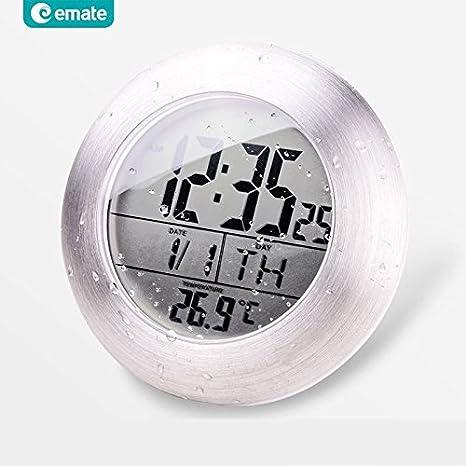 Paleo Reloj digital electrónica del sensor baño EMATE temparture impermeable con lechón y el soporte: Amazon.es: Hogar