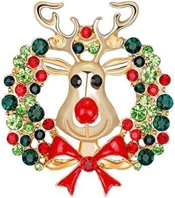 1 x ファッション パーソナリティー 女性のクリスマスのブローチ ラインストーンカバー スカーフ レディーのためのショール クリップ