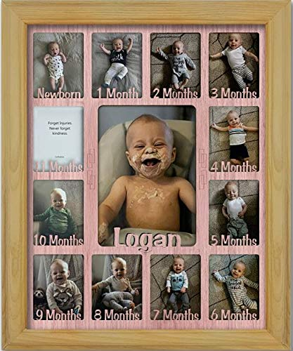 Northland Baby First Year Personalized Frame - Holds Twelve 2.5'' x 3.5'' Newborn Photos and 5'' x 7'' One Year Picture, Oak Frame, Pink Insert, Customizable with Any Name