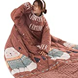 Are There Different Size King Beds Lywey Multifunction Lovers Winter Warm Long Sleeve O-Neck Suit Print Cotton Thicken Blanket Sleeping Sack Bag Bed Quilt, 120cmX160cm (Coffee)