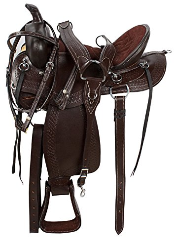 15 16 17 18 BROWN ARABIAN WESTERN PLEASURE TRAIL ENDURANCE ROUND SKIRT LEATHER HAND CARVED BARREL RACING HORSE SADDLE TACK HEADSTALL BREAST COLLAR BRIDLE (17) (Skirt Saddle Pleasure Round)