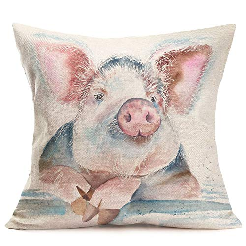 Pillow Covers Abstract Adorable Funny Animal Pig Throw Pillow Covers Cotton Linen Square Pillowcase Cushion Cover for Home Sofa Couch Car Decoration 18 x 18 Inches (Pig Head) ()