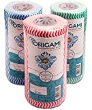 Origami Nonwoven Reusable & Washable Kitchen Wipes - 3 Rolls - 80 Wipes Per Roll (Total 240 Wipes)