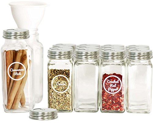 (SpiceLuxe Premium Spice Jar Set -14 Empty Square Glass Jars, Stainless Dispenser Lids, 100 Spice Labels and Easy Pour Funnel - Decorative Containers Organize Your Spice Rack or Pantry)