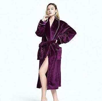 SHANGXIAN Mujer Calentar Bata De Baño Calentar Largo Bata De Kimono Felpa Ropa De Dormir Otoño Invierno Bata De SPA con Bolsillo,Purple,L: Amazon.es: Hogar