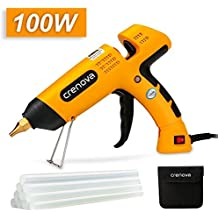 Hot Glue Gun,Crenova 100 Watts Industrial Hot Melt Glue Gun Set, with 10pcs Glue Sticks and Carry Bag, for Factory, Home and School, DIY Arts and Crafts Projects, Home Quick Patch-ups (Yellow)