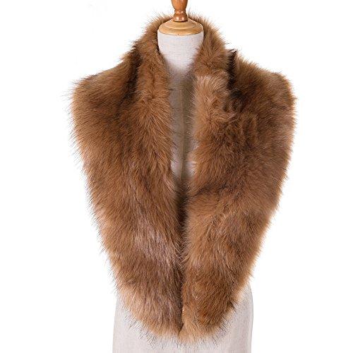 - Yetagoo Winter Faux Fur Scarf Wrap Collar Shrug for Coat Wedding Evening 1920s Party Khaki