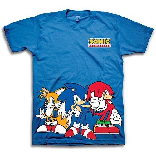 Sega Boys Sonic The Hedgehog Shirt - Featuring Sonic, Tails, and Knuckles - The Hedgehog Trio - Official T-Shirt (4) ()
