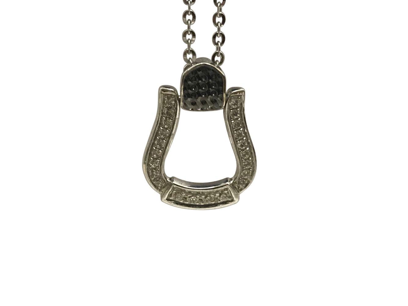 9K Zircon Horseshoe Journey Style Necklace-A