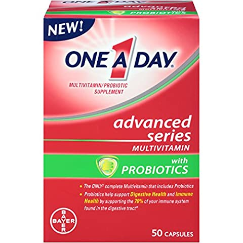 One A Day Advanced Series Multivitamins with Probiotics, 50 Count (One A Day Bayer)