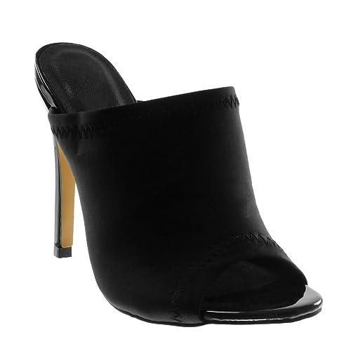 a66bca813307f Angkorly Chaussure Mode Mule Escarpin Slip-On Stiletto Peep-Toe Femme  Finition Surpiqûres Coutures
