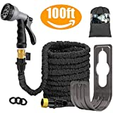 Liwiner 100 FT Expandable Garden Water Hose Pipe/Magic Expanding Flexible Hose with Brass Fittings Valve 8 Function Spray Gun Nozzle Wall Holder/Storage Bag … (Black)