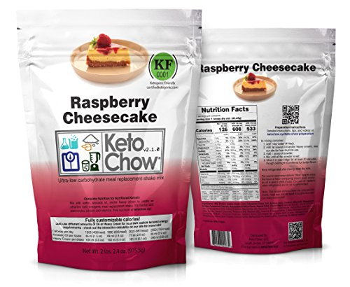 Keto Chow Ultra Low Carb Meal Replacement Shake, complete nutrition for Ketogenic Diet (Raspberry Cheesecake 2.1, 21 Meals)