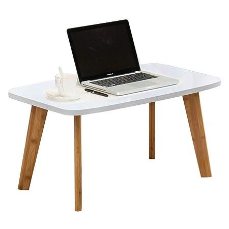 TUYIROE Mesa de centro blanca compuesta de madera maciza del ...