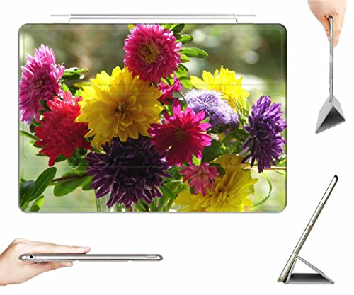 iRocket iPad 2/3/4 Case + Transparent Back Cover, A bouquet of asters , [Auto Wake/Sleep Function] (Aster Bouquet)