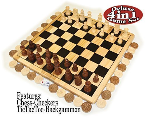- Homeware Deluxe 4-in-1 Chess, Checkers, Tic Tac Toe & Backgammon Wooden Game Set