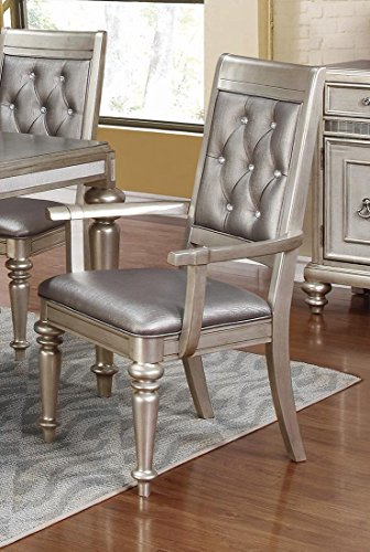 Danette Upholstered Arm Chairs with Tufted Back Metallic Platinum (Set of 2)