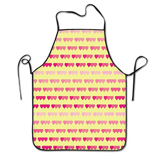 - Novelty Kitchen Apron for Women Colored Heart Valentine's Day Elegant Festive Tenderness Love Wallpaper Heart Dreamy Pattern BBQ Cooking Apron for Men