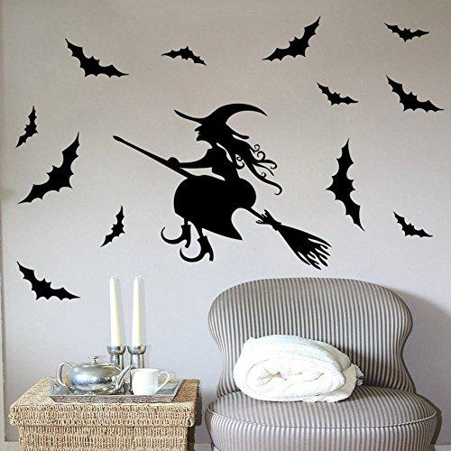 yanQxIzbiu Halloween Flying Witch on Broom Bats PVC Wall Window Sticker Decal Home Decor -
