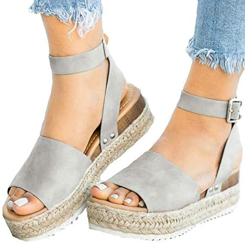 XMWEALTHY Women's Ankle Strap Platform Wedges Sandals Casual Open Toe Espadrilles Sandals for Summer Grey US 10.5