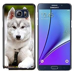 LECELL--Funda protectora / Cubierta / Piel For Samsung Galaxy Note 5 5th N9200 -- Siberian Husky Malamute Cachorro de perro negro --