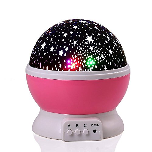 lederTEK Battery and USB Powered Pink Starry Night Light, Rotating Project Bright Moon and Color Star in Firmament, Projector Lamp for Lighting in Nursery, Baby, Children, Kid's Room