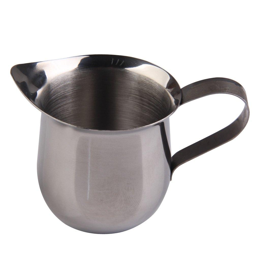 Demiawaking 3OZ(90ml) Stainless Steel Coffee Shop Small Milk Cream Waist Shape Cup Jug