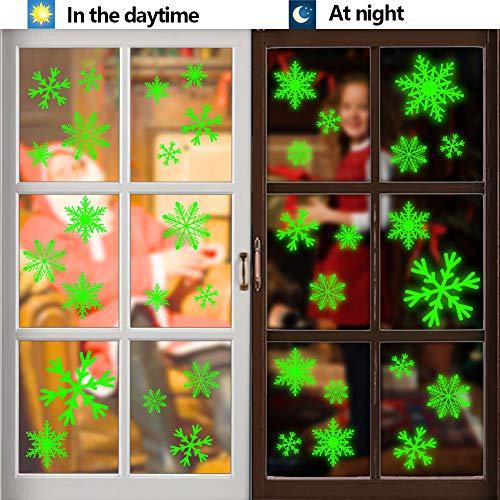 VGOODALL Schneeflocken Fenstersticker, 7 Blätter mit 1 Abstreicher Schneeflocken Fensteraufkleber Fensterbilder für Weihnachtsdeko Fensterdeko Winterdeko