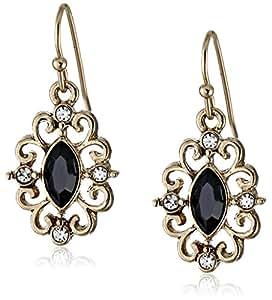 1928 Jewelry Gold-Tone Jet Crystal Navette Drop Earrings