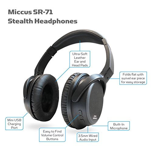 miccus wireless bluetooth v4 2 over ear headphones with mic aptx headset low latency for gaming. Black Bedroom Furniture Sets. Home Design Ideas