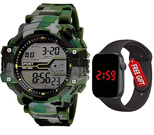 Watch City Sports Digital Men's Watch (Black Dial Green Colored Strap)