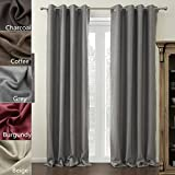 Chadmade (1 Panel) Modern Solid Insulated Thermal Blackout Polyester Nickel Steel Grommet Top Curtain Drapes Panel Grey 50W by 96L Inch