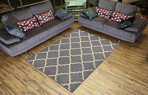 RugStylesOnline Trellis Contemporary Modern Lattice Design Area Rug, 4 Feet 11 Inch x 6 Feet 11 Inch - Grey