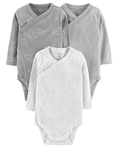 Carter's Baby Boys' 3-Pack Side-Snap Bodysuits (3 Months, Grey/Elephant)