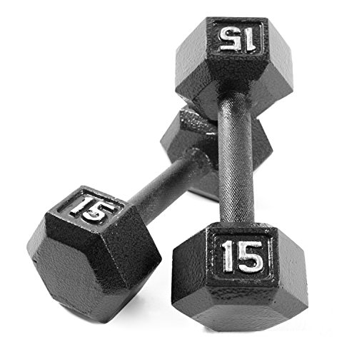 CAP Barbell Cast Iron Hex Dumbbell (Pair), Black, 15 lb