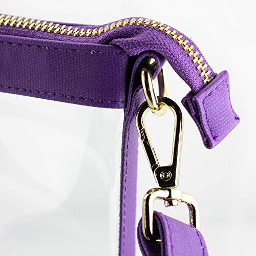 with bag Crossbody Large Designs Purple accents Clear PVC Capri Women's color cwOzxRYY