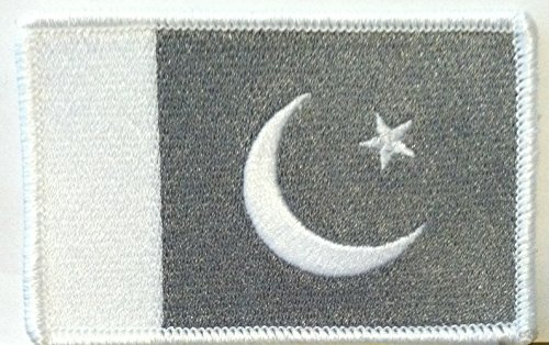 PAKISTAN Flag Embroidered W/ VELCRO Patch MC Biker Morale Emblem Gray & White Version. White Border - W Pakistan