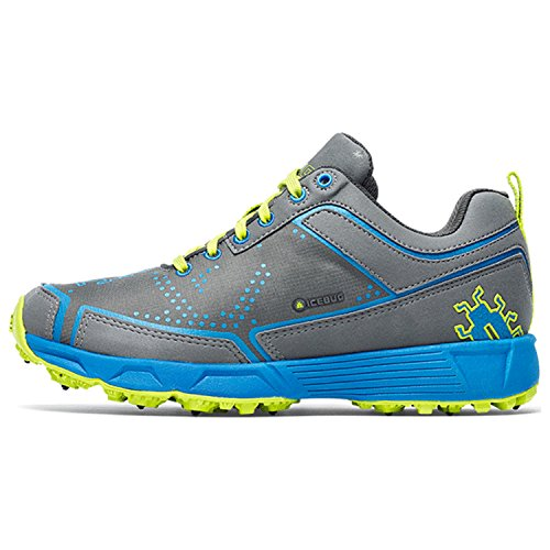 Icebug Women's DTS2-L BUGrip Running Shoe,Charcoal/Azure,US 6 W
