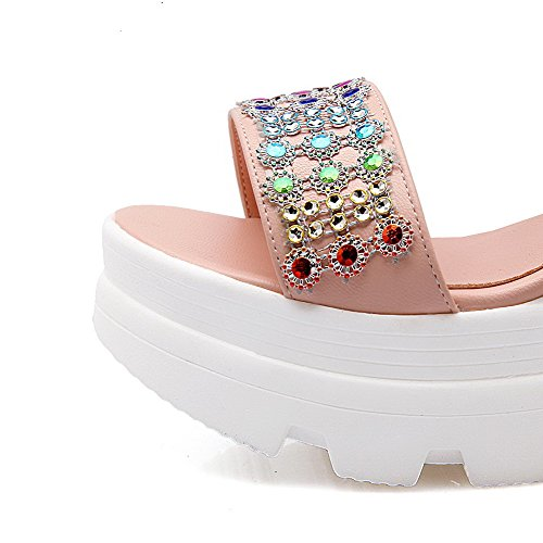AgooLar Mujeres Pu Tachonado Velcro Puntera Abierta Plataforma Sandalia Rosa