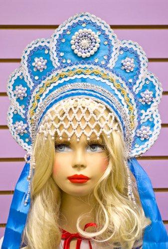 Russian Folk Costume 'Kokoshnik' Headdress in Light Blue (Moscow Traditional Costumes)